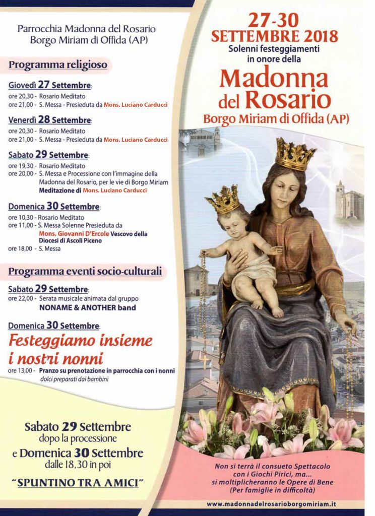 Locandina Festa Madonna del Rosario 2018